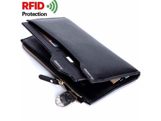 RFID Theft Protect Coin Bag zipper men wallet famous brand male money purses Top