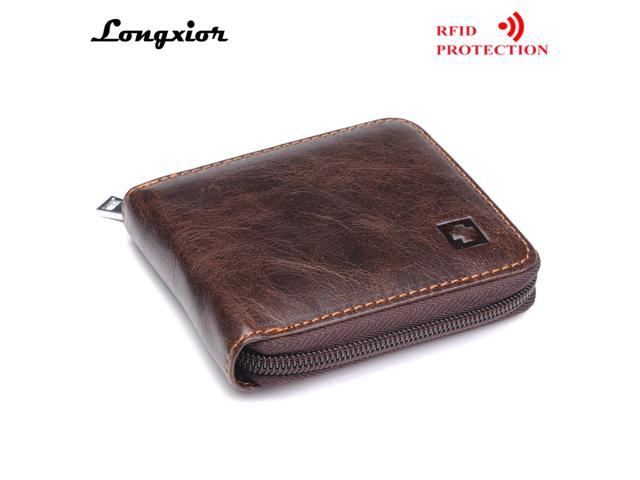 a7ebbdee25 MRF9 Fashion Men Wallet With Zipper RFID Blocking ID Credit Card Holder  100% Top Grain Genuine Cow Leather Men Purse Pocket - Newegg.com