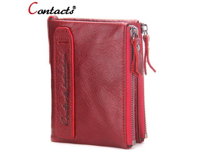 109911454773 CONTACT'S women wallet Genuine Leather Men Wallet Purse Female Card Holder  Small Clutch bags wallet coin Purse Money Bag Red - Newegg.com