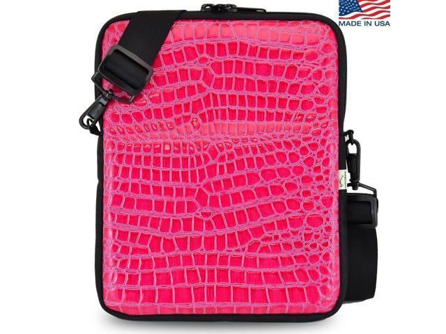 Universal Tablet Bags Pink Crocodile Sleeve Bag With Shoulder Strap