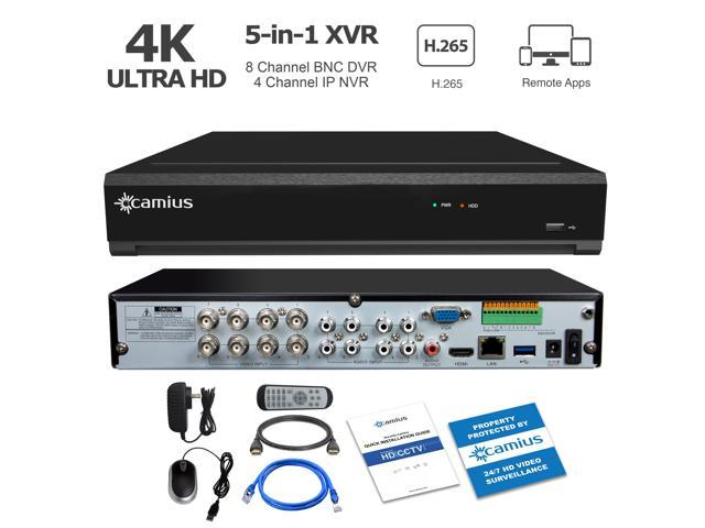 Camius Ultra HD 8MP 4K 8-Channel Hybrid 5-in-1 DVR NVR Security Video  Recorder fits 1 Sata HDD, Supports Analog and IP Cameras, P2P/DDNS, PC/Mac