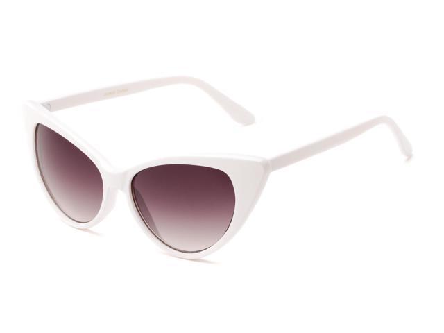 4a0c247689 Sunglass Warehouse Victoria  1272 White Frame with Smoke Lenses Womens Cat  Eye Sunglasses