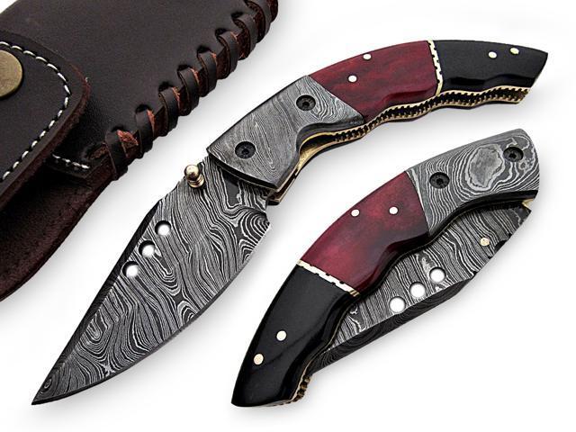 Dragon Rouge Pocket Knife Damascus Steel Blade Bone and Horn Handle, by  AishaTech - Newegg com