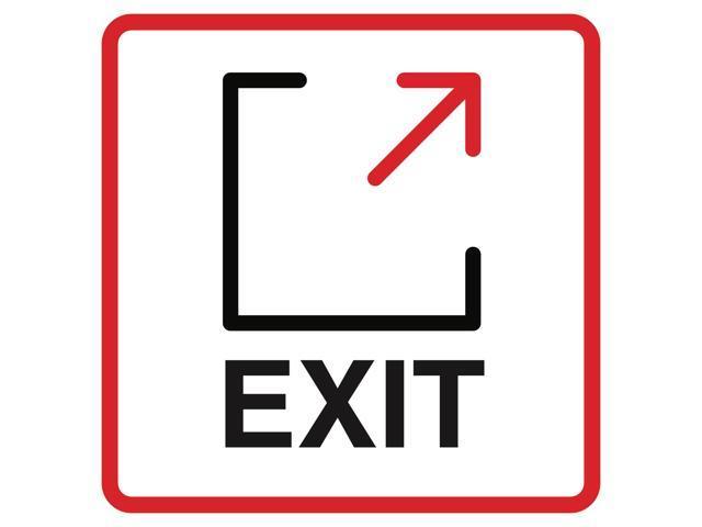 Aluminum Exiting Notice Black And Red Right Corner Exit