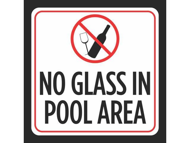 No Glass In Pool Area Picture Print Red White Black Caution Notice Swimming  Pools Hot Tub Safety Signs, 12x12