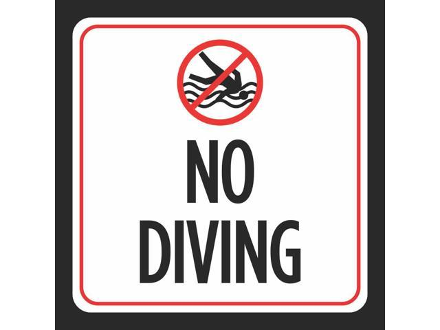 No Diving Sign - Notice Red White Black Swim Swimming Pool Safety Outdoor  Signs Commercial - Plastic - 4 Pack, 12x12 - Newegg.com
