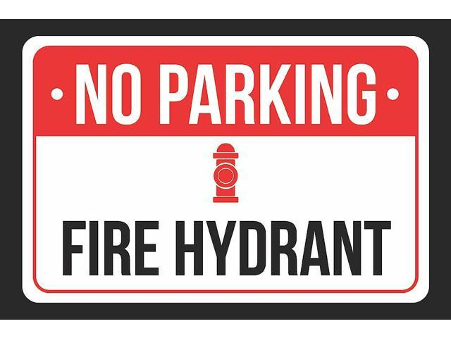 White and Black Notice Parking Plastic Large Signs NO Parking from here to Corner 12x18 Print Red with Right Arrow