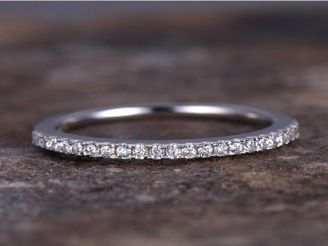 Thin Half Eternity Ring 925 Sterling Silver Wedding Band Anniversary 1 2mm