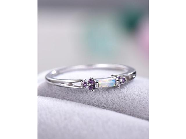 Opal Wedding Band.Opal Wedding Band Amethyst Engagement Ring White Gold Plated Sterling Silver Bridal Ring Baguette Cluster Anniversary Gift Art Deco Ring Newegg Com
