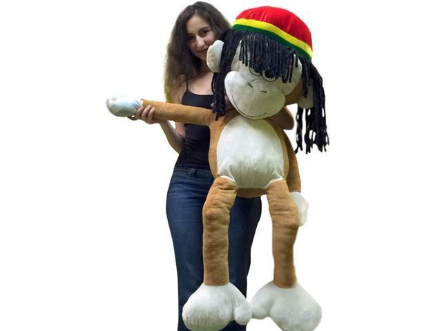 Giant Stuffed Rasta Monkey 48 Inch Soft Jumbo Plush 4 Foot Light