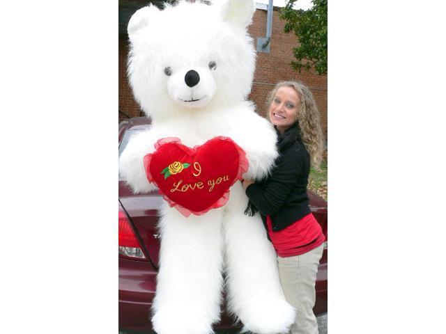 6 foot teddy bear giant white teddybear with i love you heart soft