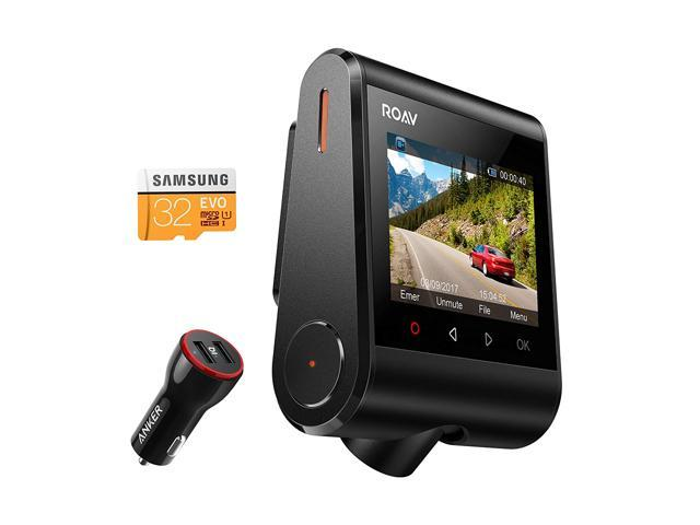 "Anker Roav Dash Cam C1, Dashboard Camera Recorder, 2.4"" LCD, 1080P FHD, 4-Lane Wide-Angle View Lens, Built-In WiFi, G-Sensor, WDR, Loop Recording, Night Mode, 2-Port Charger, 32G microSD Card Included"