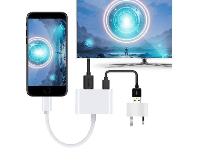 1080P Digital AV Adapter with Charging Port,Sync Screen HDMI Connector Compatible with iPhone 11//11 Pro//XS//XR//X//8 7 Apple MFi Certified iPad on HD TV//Monitor//Projector Lightning to HDMI Adapter