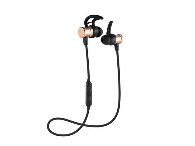Kingwear Bluetooth Headphones Wireless Magnetic In Ear Sports Earbuds Earphones Headsets With Built In Mic For Iphone Samsung Android Smartphones Other Bluetooth Devices Black Gold Newegg Com