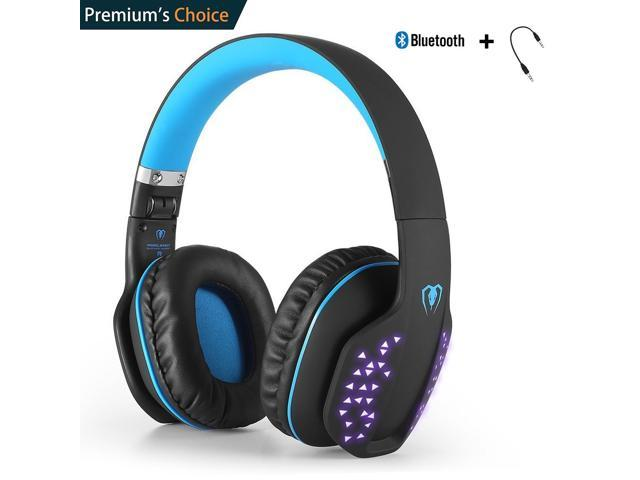 Beexcellent Bluetooth Headphones Wireless Foldable Noise Cancelling Over Ear Headset With Microphone Led Light For Smartlife Laptop Computer Blue Newegg Com