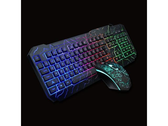 104 Keys Character Glow Computer Parts Crackle Lighting Usb Connection Wired Plug And Play 1600dpi Ergonomics Multimedia Keyboard Mouse Set Newegg Com