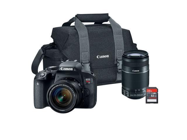 Canon Eos Rebel T7i Digital Slr Camera Bundle With Ef S 18 55 Is Stm Lens Ef S 55 250 Is Stm Lens Gadget Bag 32gb Sd Card