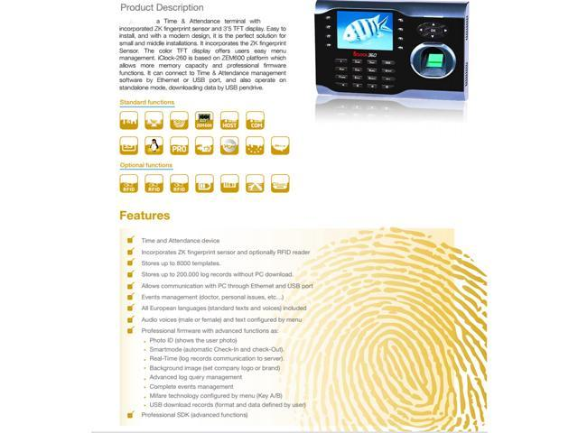 8000 fingerprints time attendance TCP IP fingerprint time clock iclock 360  biometric employee attendance record track - Newegg com