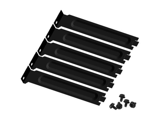 5PCS Black Hard Metal Steel PCI Slot Covers Bracket Full Profile Dust Filter