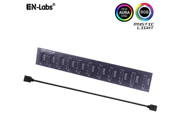 EnLabs 5V 3-pin 10 Ports ARGB AURA 5050 RGB LED Light Strips Splitter Hub  to Motherboard for RBW LED Fan Compatible w/ MSI Mystic Light Sync  /GIGABYTE