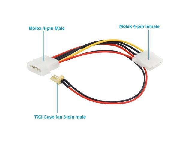 4 Pin Molex Extension Cable Male to Female with 3 pin Fan Power 15cm