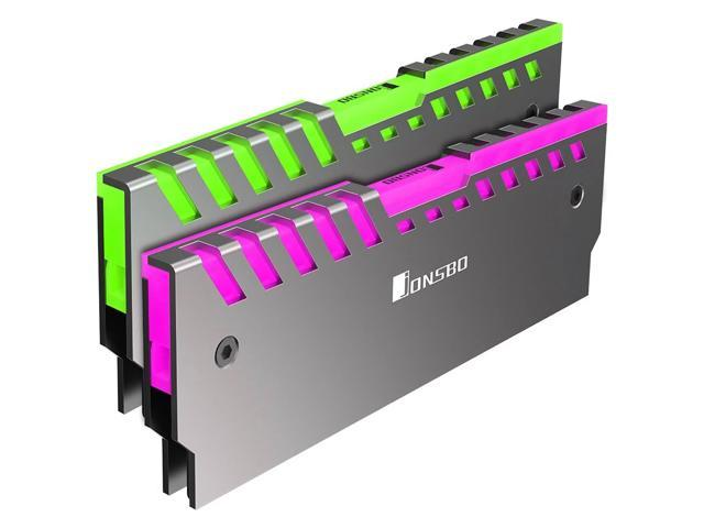 2 Pack Jonsbo NC-2 RGB Light Glow Effect Aluminum Alloy Desktop Memory RAM  Heatsink Heat Spreader Cooling Shell - Control Color through AURA -