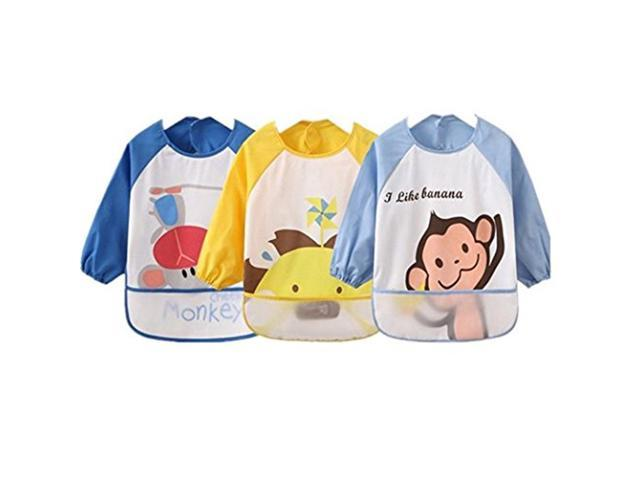 Kids Childs Arts Craft Painting Apron Baby Bibs Messy Play Wipe