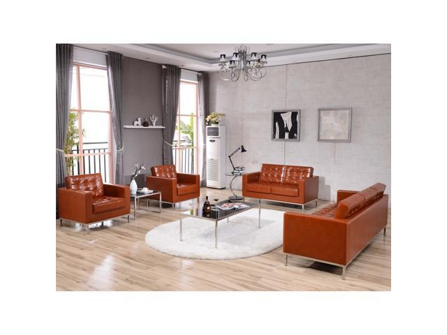 Awesome Hercules Lacey Series Contemporary Cognac Leather Loveseat With Stainless Steel Frame Newegg Com Machost Co Dining Chair Design Ideas Machostcouk