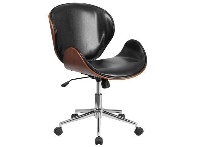 Mid Back Walnut Wood Swivel Conference Chair In Black