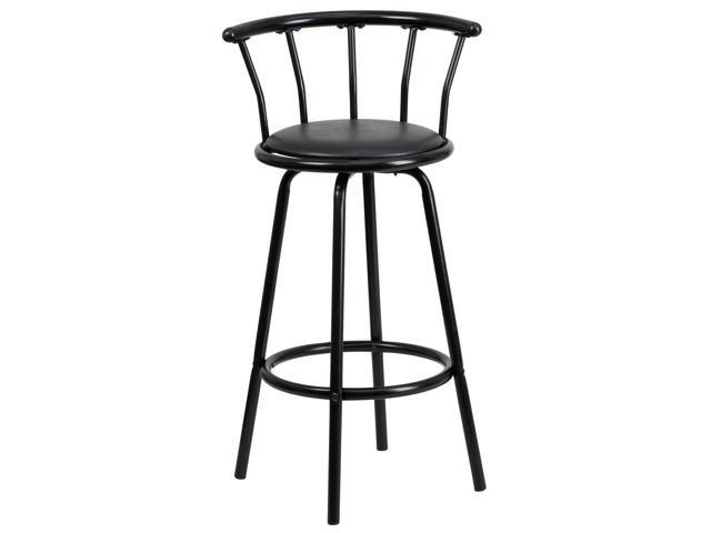 Admirable Crown Back Black Metal Barstool With Black Vinyl Swivel Seat Machost Co Dining Chair Design Ideas Machostcouk