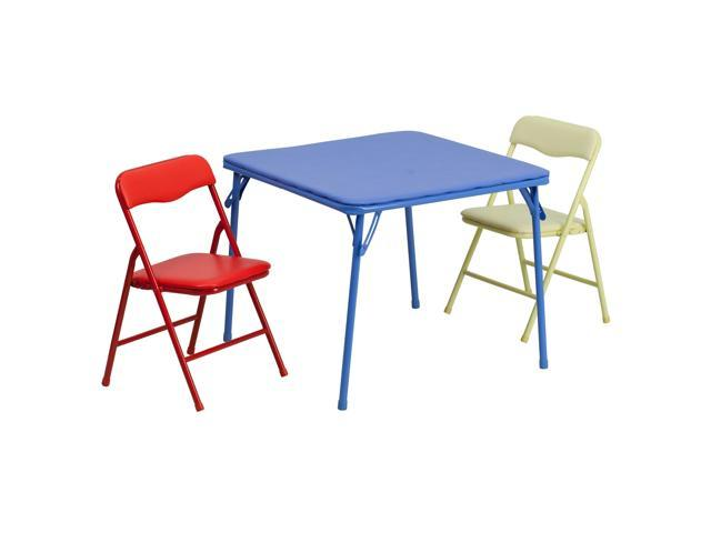 Kids Colorful 3 Piece Folding Table And Chair Set Newegg Com