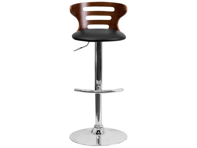 Awesome Walnut Bentwood Adjustable Height Barstool With Three Slot Cutout Back And Black Vinyl Seat Pabps2019 Chair Design Images Pabps2019Com