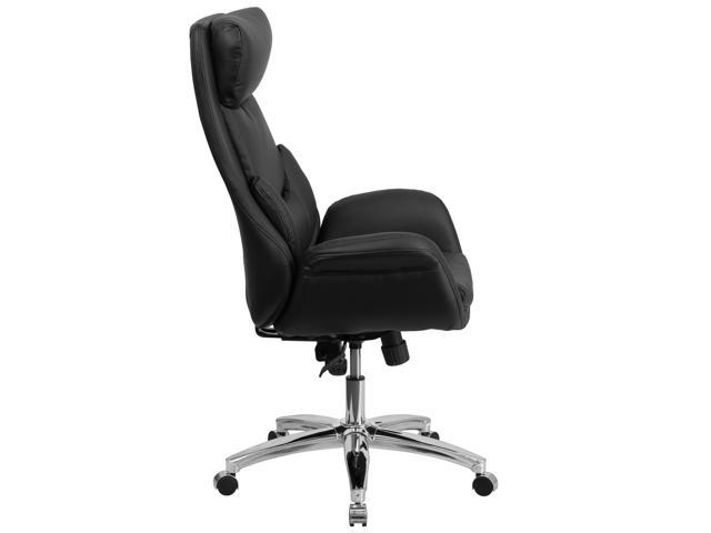 Awe Inspiring High Back Black Leather Executive Swivel Chair With Lumbar Pillow And Arms Pdpeps Interior Chair Design Pdpepsorg