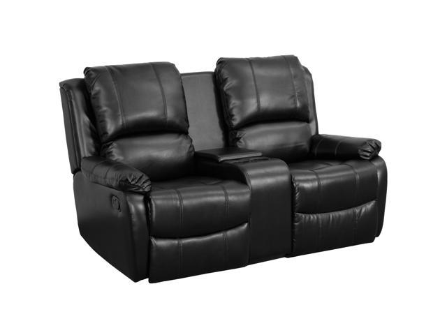 Amazing Allure Series 2 Seat Reclining Pillow Back Black Leather Theater Seating Unit With Cup Holders Uwap Interior Chair Design Uwaporg