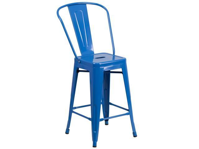 Fine 24 High Blue Metal Indoor Outdoor Counter Height Stool With Back Newegg Com Machost Co Dining Chair Design Ideas Machostcouk