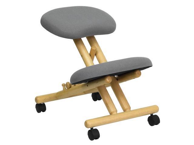 Mobile Wooden Ergonomic Kneeling Chair In Gray Fabric