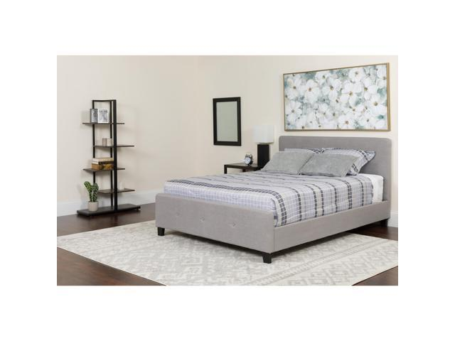 Tribeca King Size Tufted Upholstered Platform Bed In Light Gray Fabric Newegg Com