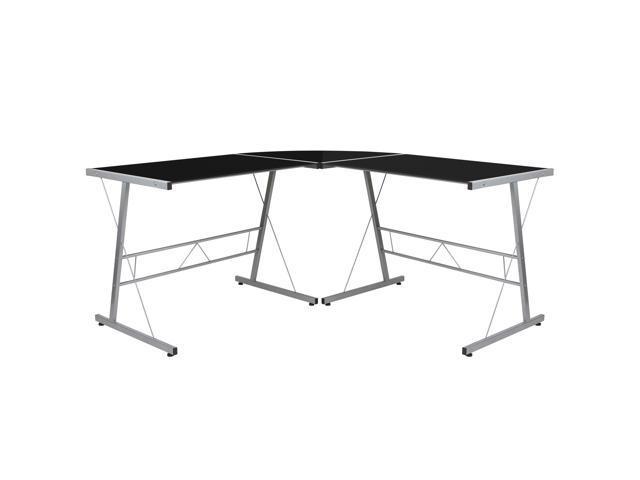 Black Glass L Shape Corner Computer Desk With Silver Metal Frame Newegg Com