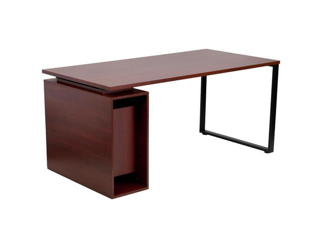 Mahogany Computer Desk With Open, Flash Furniture Computer Desk With 3 Drawer Pedestal Mahogany