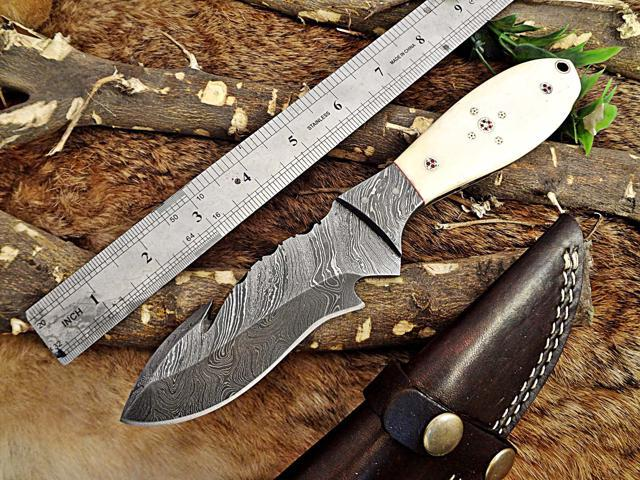 8 Long Hand Forged Damascus Steel Compact Skinning Knife Cow Hide Leather Sheath Included 3 Inserting Holes Hand Forged Damascus Steel with Natural 2 Tone Wood Scale