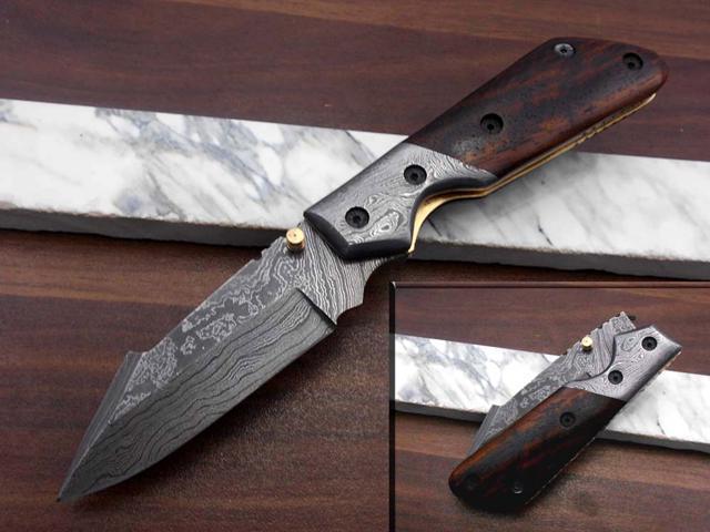 "thumb knob Damascus steel 8/"" folding knife liner lock Cow sheath"