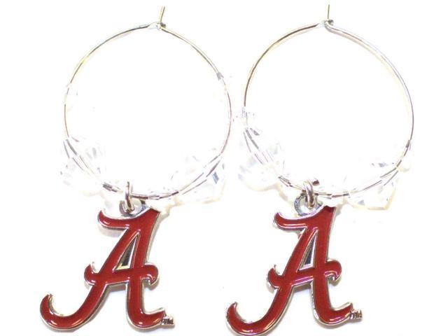 Alabama Crimson Tide Football NCAA Heart Swirl Charm Silver Dangle Earrings Set