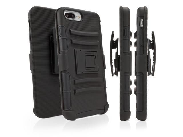 new styles 37de1 a7636 Apple iPhone 7 Plus Holster, BoxWave [Dual+ Max Holster] Shell Cover and  Belt Clip Holster with Kickstand for Apple iPhone 7 Plus - Black -  Newegg.com