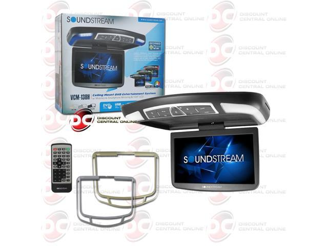 "SoundStream VCM-138H 13 8"" Ceiling Mount DVD Entertainment System w/  MobileLink Smartphone Mirroring - Newegg com"