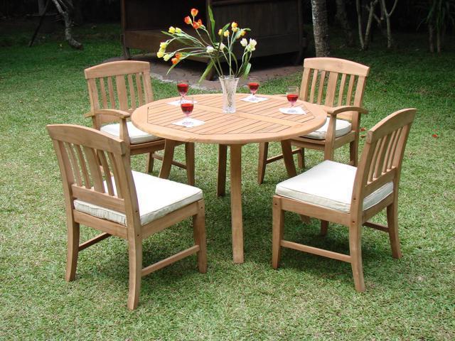 52 Round Table.Wholesaleteak 5 Pc Luxurious Grade A Teak Dining Set 52 Round Table And 4 Samurai Armless Chairs Nedssa4 Newegg Com