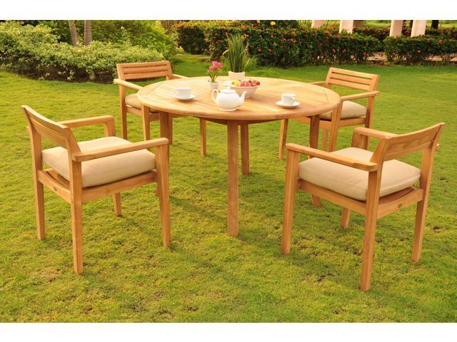 52 Round Table.Wholesaleteak 5 Pc Luxurious Grade A Teak Dining Set 52 Round Table And 4 Stacking Montana Arm Chairs Nedsmt2 Newegg Com
