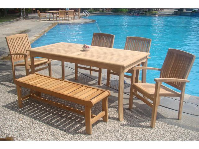 Brilliant Wholesaleteak 6 Pc Luxurious Grade A Teak Dining Set 71 Rectangle Table 4 Wave Stacking Arm Chairs With 55 Backless Bench Nedswv5 Theyellowbook Wood Chair Design Ideas Theyellowbookinfo