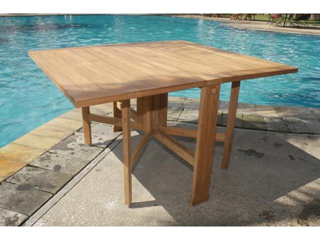 WholesaleTeak Grade A Teak Wood Orlando Folding Rectangle Dining Table Outdoor Patio Garden NEDTOR