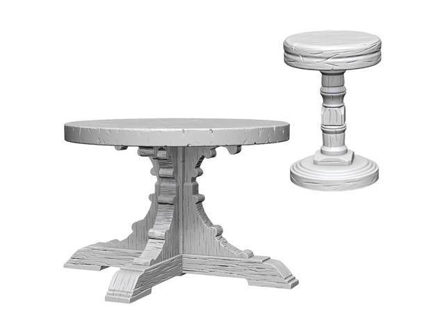 Phenomenal Deep Cuts Wooden Table Stools W4 Unpainted Miniatures Wizkids Wzk72593 Machost Co Dining Chair Design Ideas Machostcouk