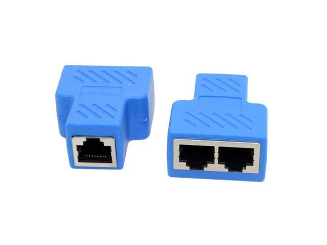 2-Pack Cat 7 RJ45 8P8C Plug to Dual Splitter Network Ethernet Patch Cord Adapter